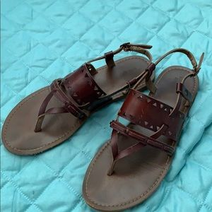 Brown leather strap sandals